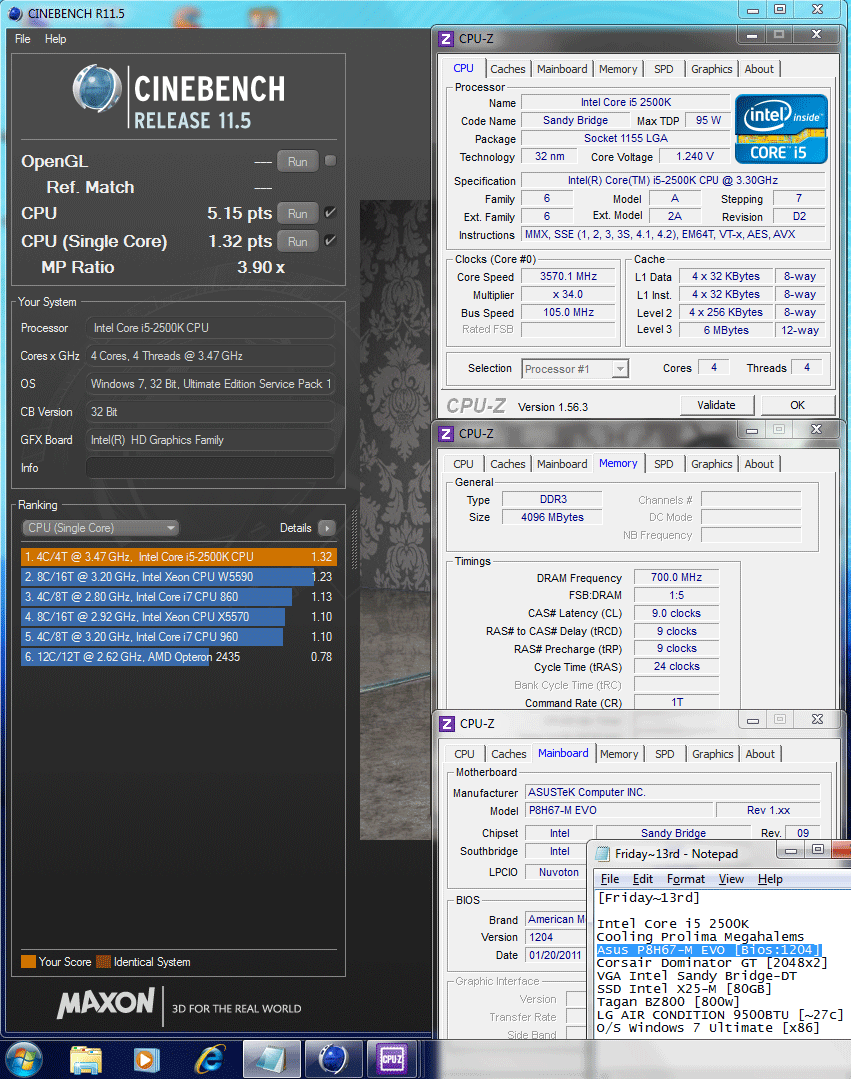 105x34 cinebench r115 Asus P8H67 M EVO : Review
