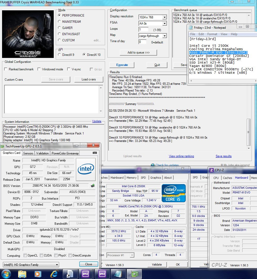 105x34 dx10 crysiswh Asus P8H67 M EVO : Review