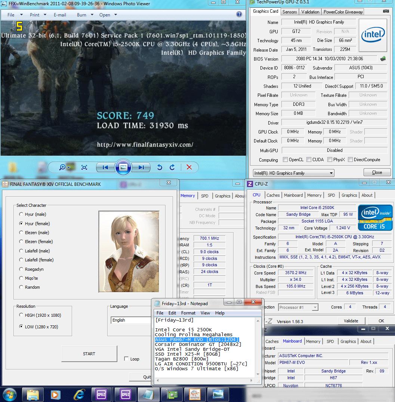 105x34 dx9 ffxiv 749 Asus P8H67 M EVO : Review
