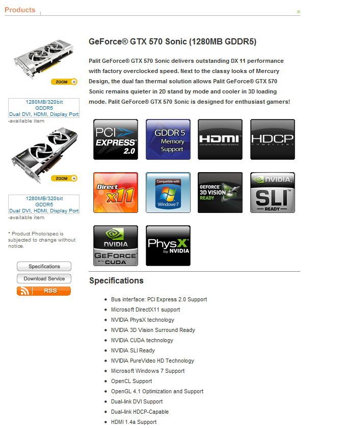 12 PaLiT GeForce GTX 570 Sonic 1280MB GDDR5