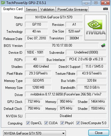 732 950 PaLiT GeForce GTX 570 Sonic 1280MB GDDR5