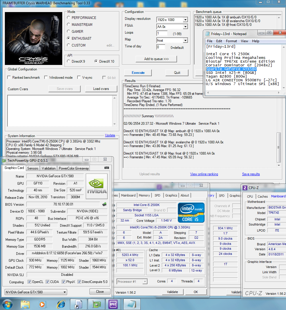 930 1125 1150mv 52 dx10 crysiswh 59 61 56 SPARKLE GeForce GTX580 : Review