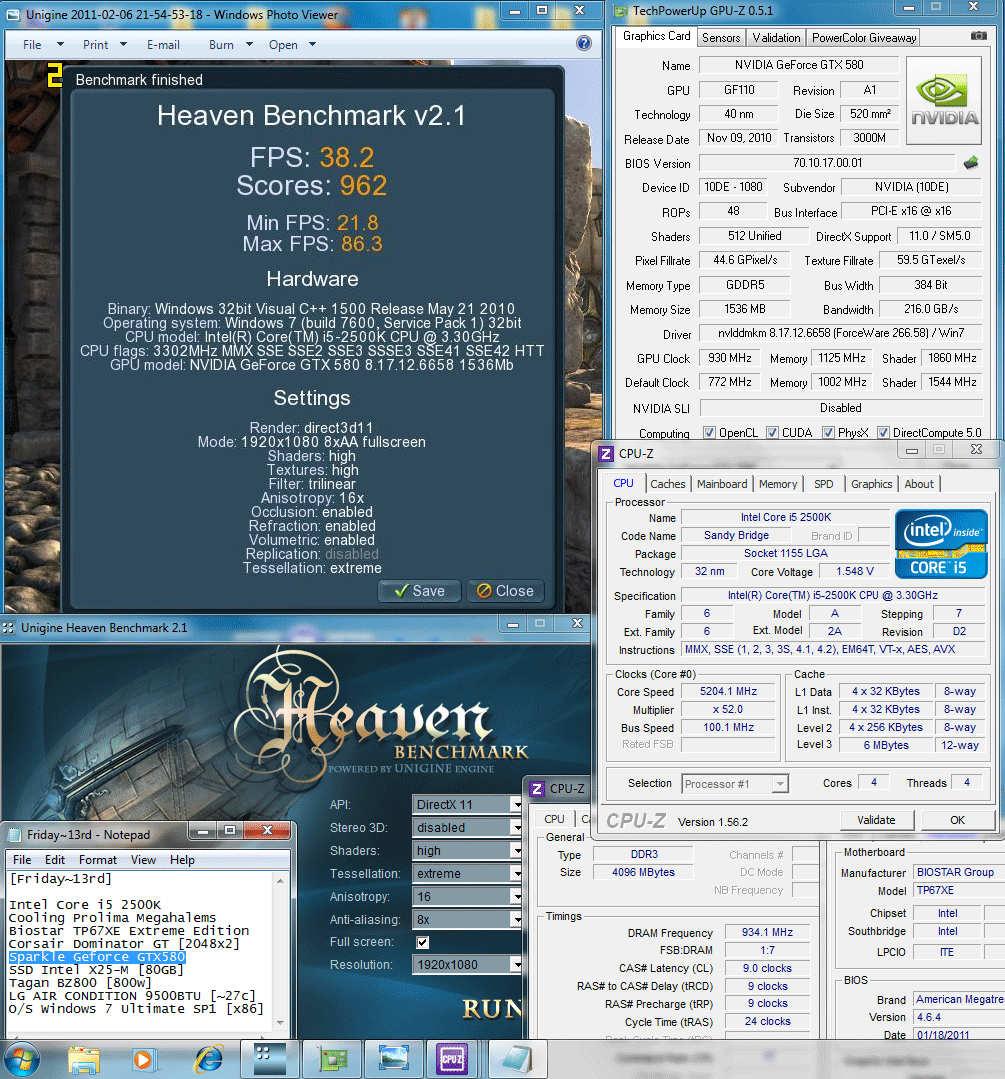 930 1125 1150mv 52 dx11 heaven 382 SPARKLE GeForce GTX580 : Review