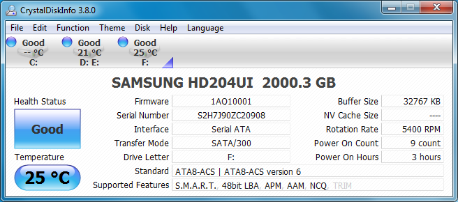 17 2tb hdtunetempidel 25c Samsung SpinPoint F4EG HD204UI [2TB] : Review