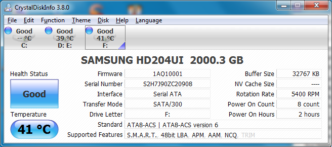 18 2tb hdtunetempfull 41c Samsung SpinPoint F4EG HD204UI [2TB] : Review