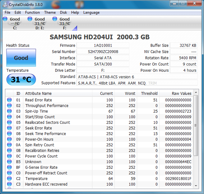 1 info crystaldiskinfo Samsung SpinPoint F4EG HD204UI [2TB] : Review