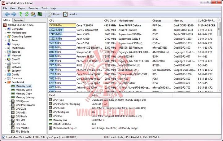 aida mem read resize ASUS P8P67 DELUXE Motherboard