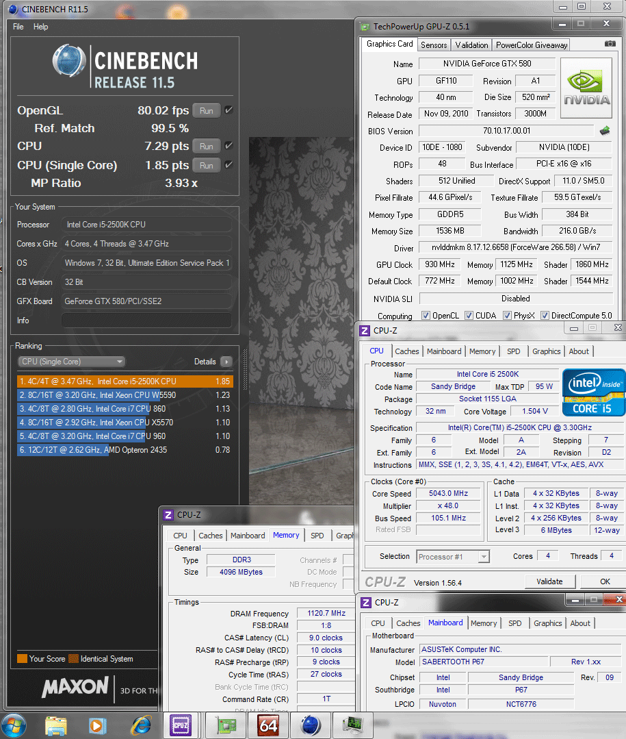 105x48 1120 9 10 9 27 1t 165v cinebench r115 Asus SABERTOOTH P67 : Review