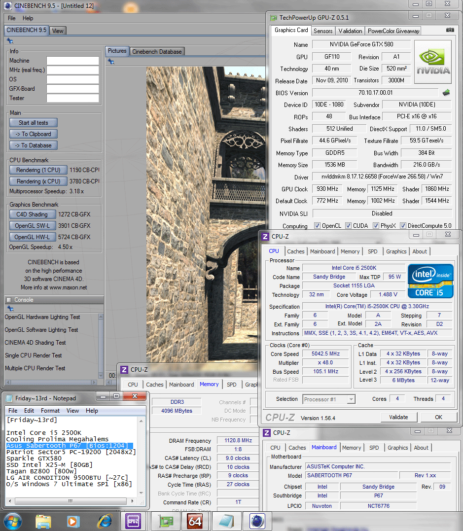105x48 1120 9 10 9 27 1t 165v cinebench r95 Asus SABERTOOTH P67 : Review