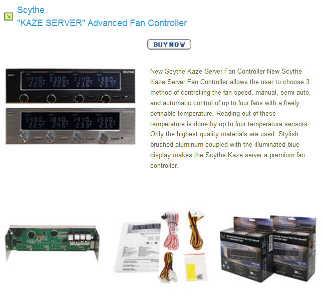 spec1 SCYTHE KAZE SERVER Automatically Fan Speed Controller