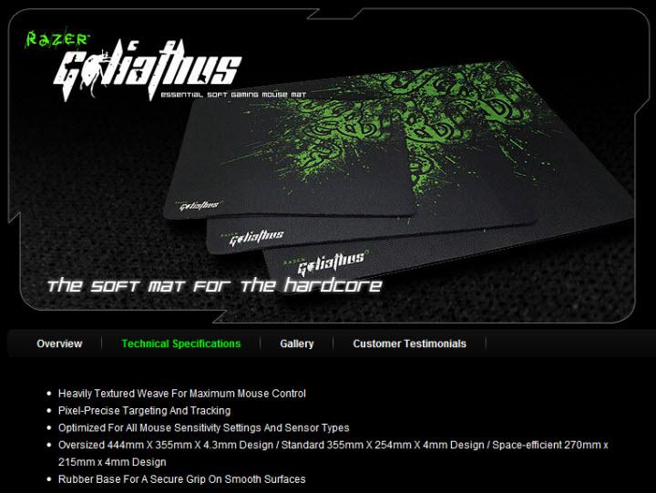 spec11 RAZER Goliathus Gaming Mats