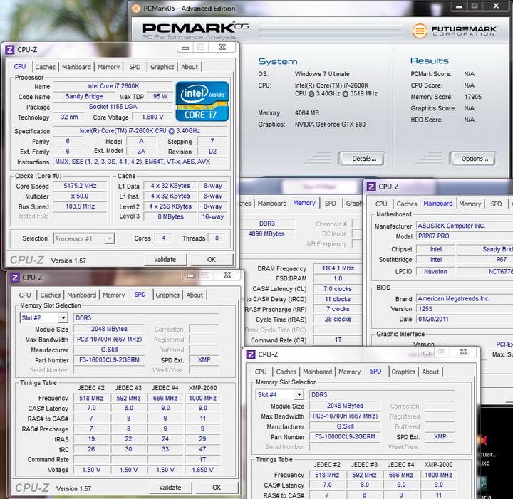 pcmark 05 G.Skill Ripjaws F3 16000CL9D 4GBRM