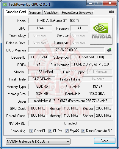 gz c PaLiT NVIDIA GeForce GTX 550 Ti Sonic 1GB GDDR5 Debut Review
