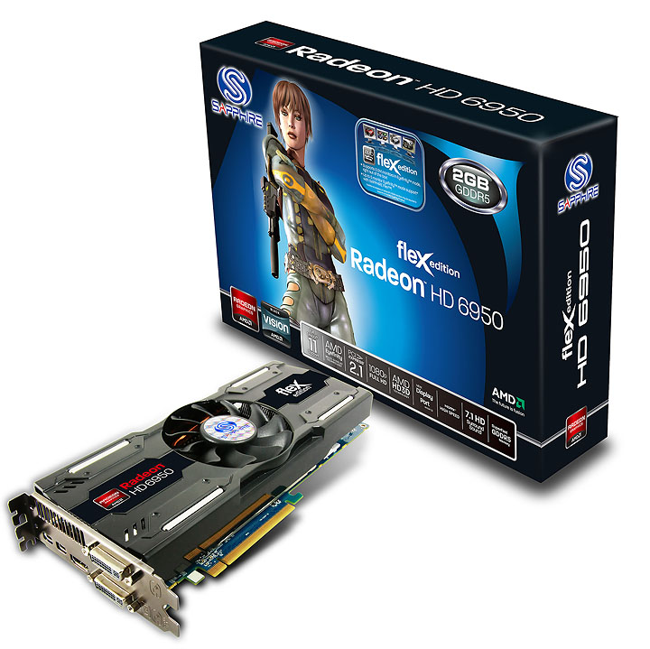 11188 04 hd6950 flex 2gbgddr5 2minidp hdmi 2dvi pcie fbc SAPPHIRE HD 6950 FleX simplifies Eyefinity for Gamers!