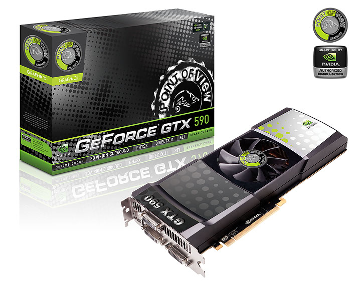 point of view vga 590 a1 3qtr NVIDIA GeForce GTX 590 3GB GDDR5 Debut Review