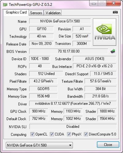 cpuz2 oc ASUS GTX580 DirectCU II