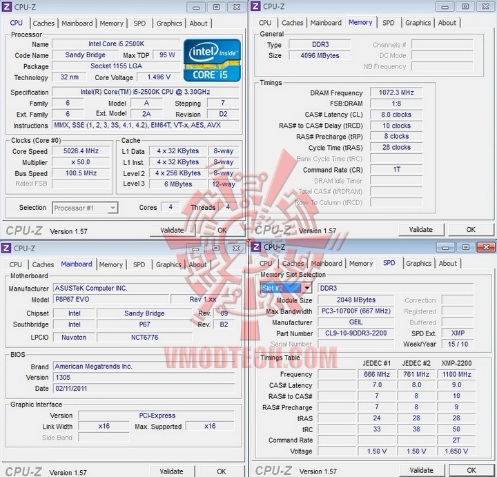 cpuz ASUS P8P67 EVO Motherboard Review