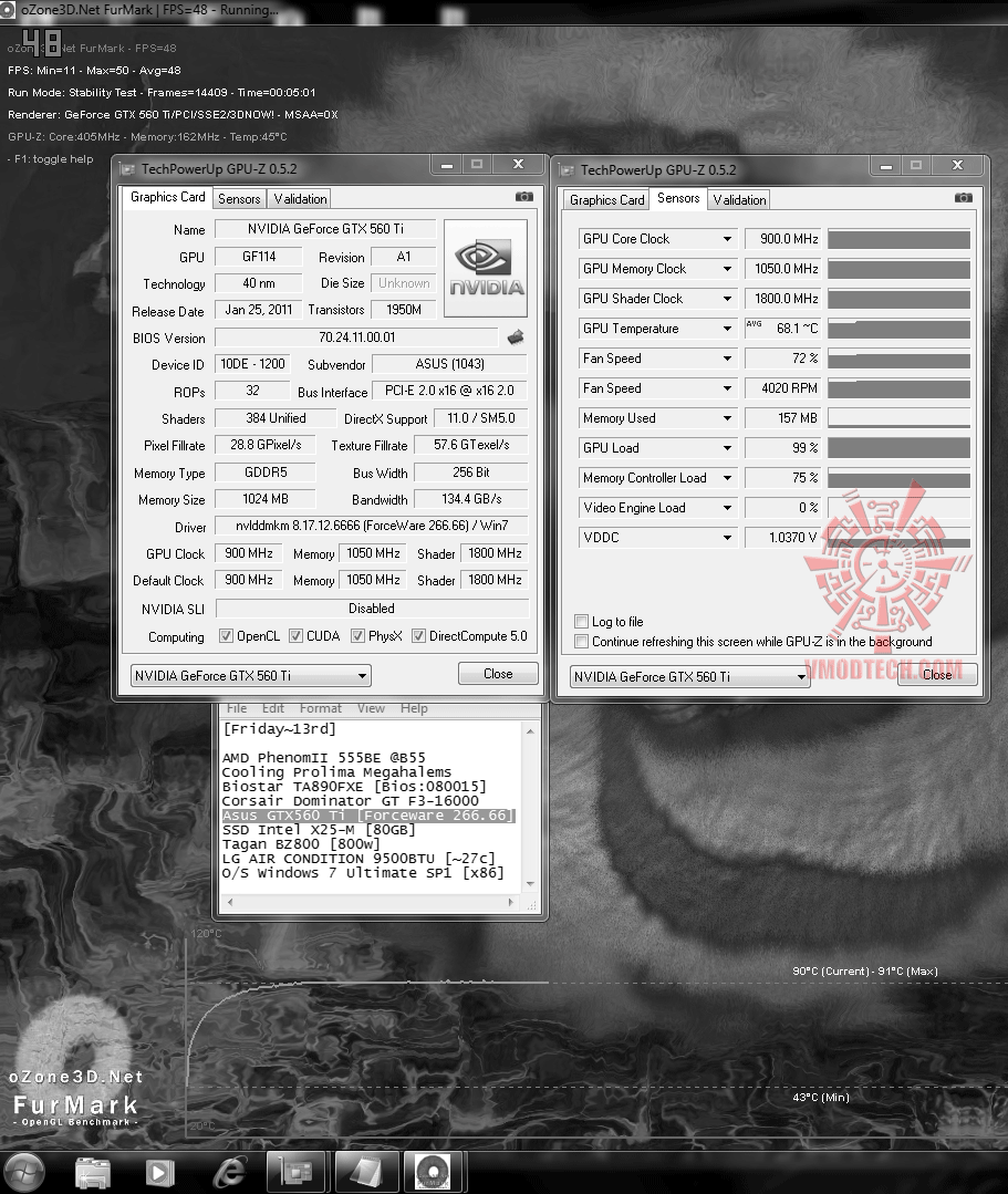 default temp fanauto 43c 68c 91c Asus GTX560 Ti DirectCUII TOP : Review