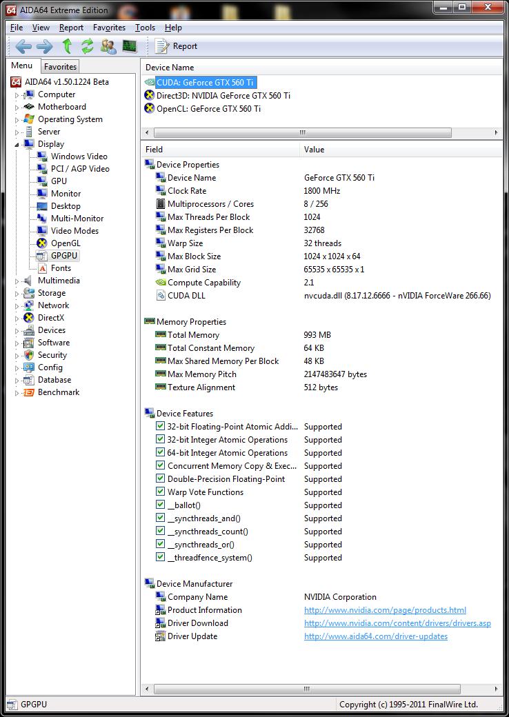 info aida64 gpgpu Asus GTX560 Ti DirectCUII TOP : Review