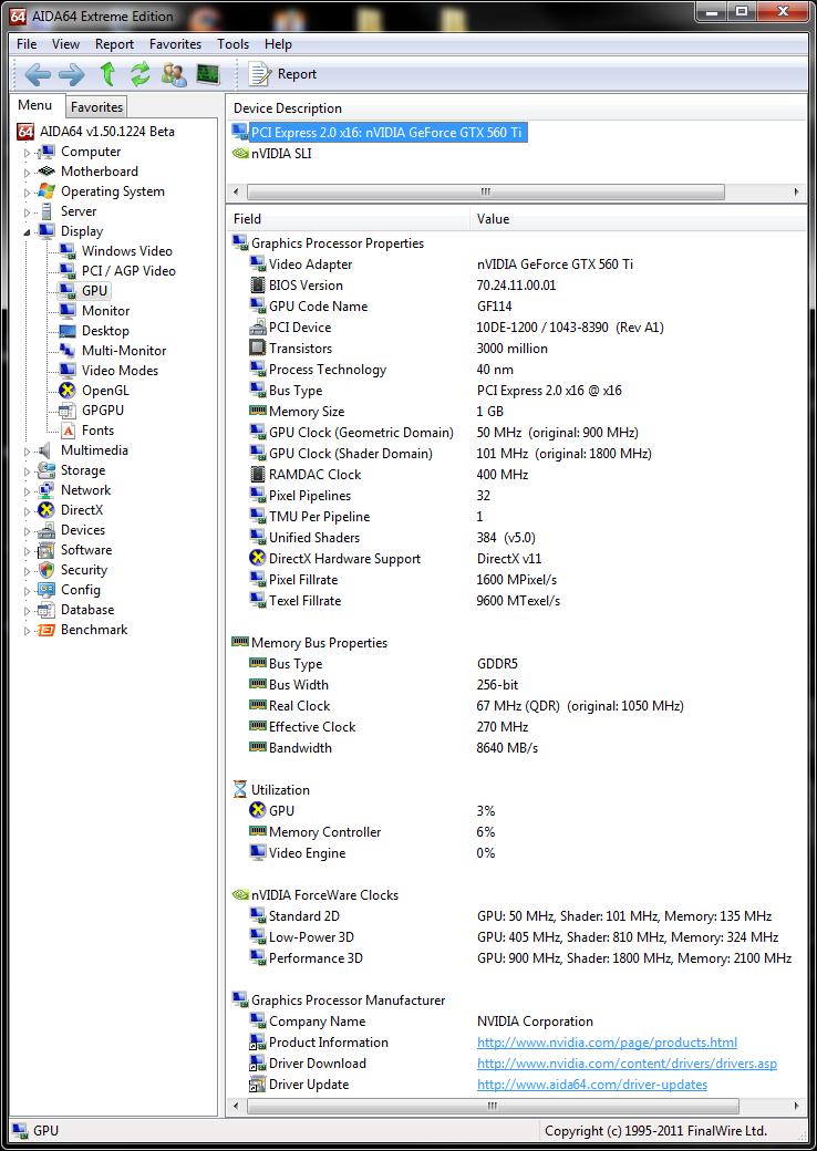 info aida64 gpu Asus GTX560 Ti DirectCUII TOP : Review