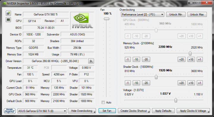 info nvidia inspector 720x395 Asus GTX560 Ti DirectCUII TOP : Review