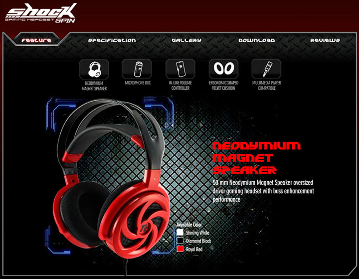feature Tt eSPORTS SHOCK SPIN Gaming Headset