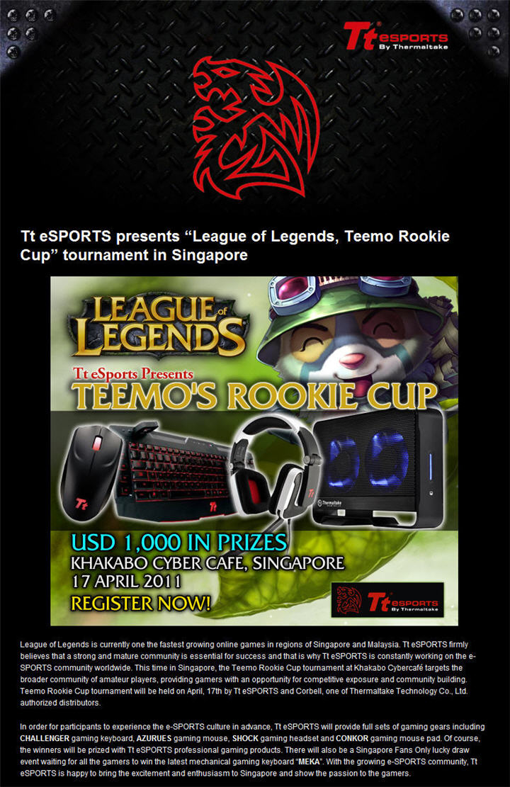 "ttt Tt eSPORTS presents ""League of Legends, Teemo Rookie Cup"" tournament in Singapore"