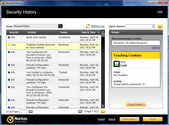 history Norton Internet Security 2011 Review