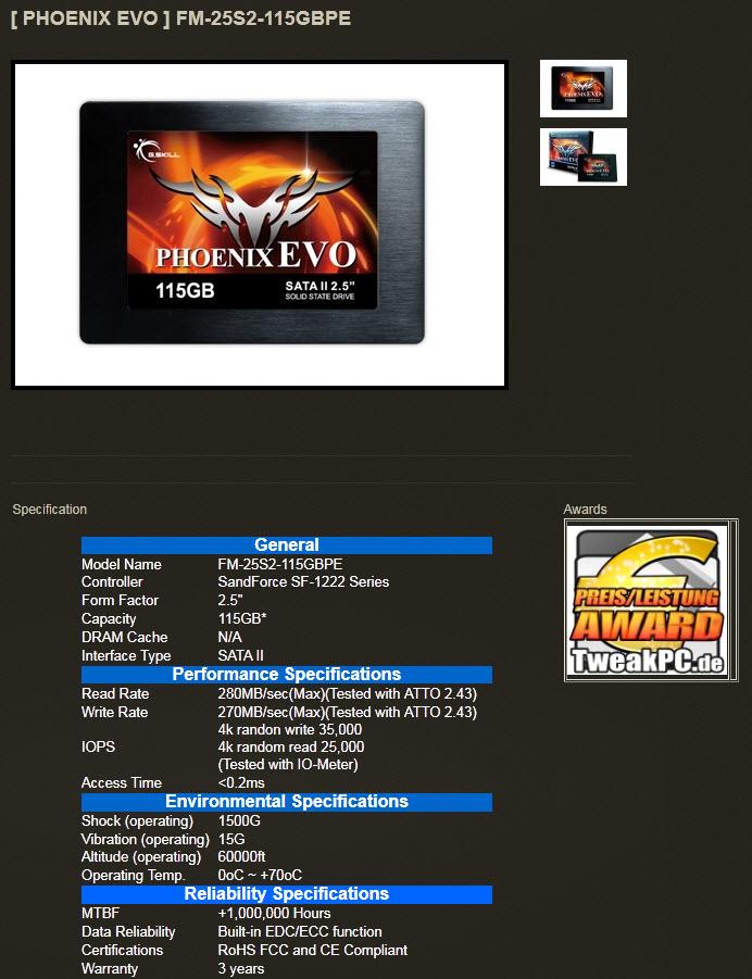 1 G.SKILL PHOENIX EVO SSD 115 GB