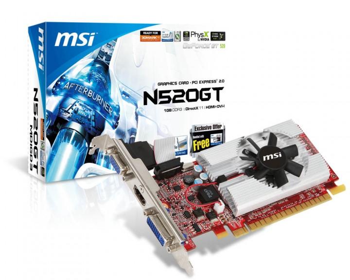 msi vga msi n520gt md1gd3 lp 720x576 MSI เปิดตัวกราฟฟิคการ์ด N520GT MD1GD3/LP