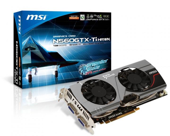 n560gtx ti hawk 720x576 MSI N560GTX Ti Hawk มาพร้อมกับใบพัดพัดลมพิเศษแบบ Propeller Blade  เพิ่มแอร์โฟลว์ได้กว่า 20% ลดอุณหภูมิ GPU ได้ถึงกว่า 17 องศา !