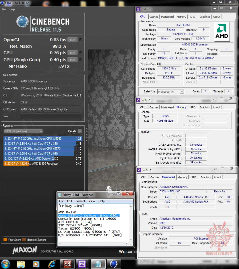 120x16 cinebench r115 Asus E35M1 I Deluxe : Review