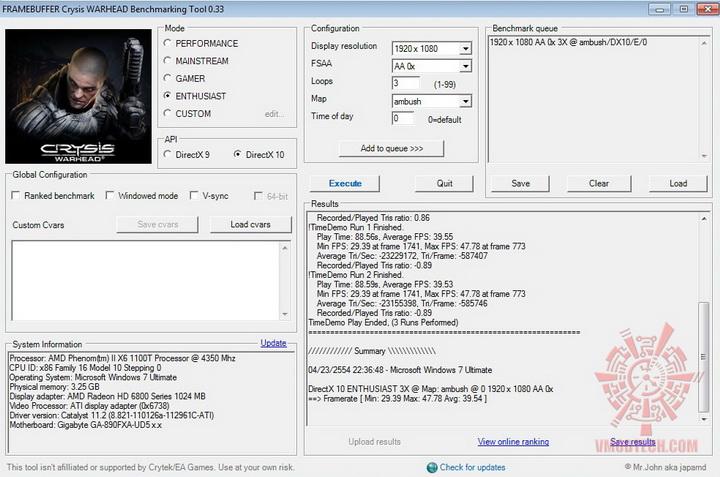 crysis 1000 msi HD 6870 HAWK 1GB DDR5 Review