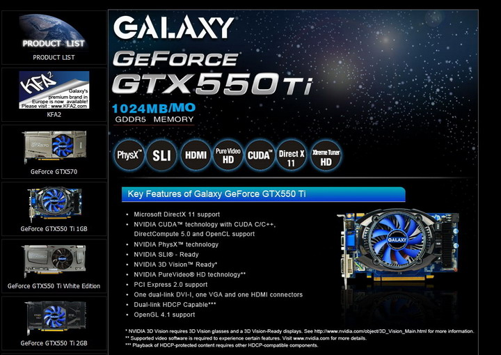 1 GALAXY Geforce GTX 550Ti 1024MB GDDR5 Review