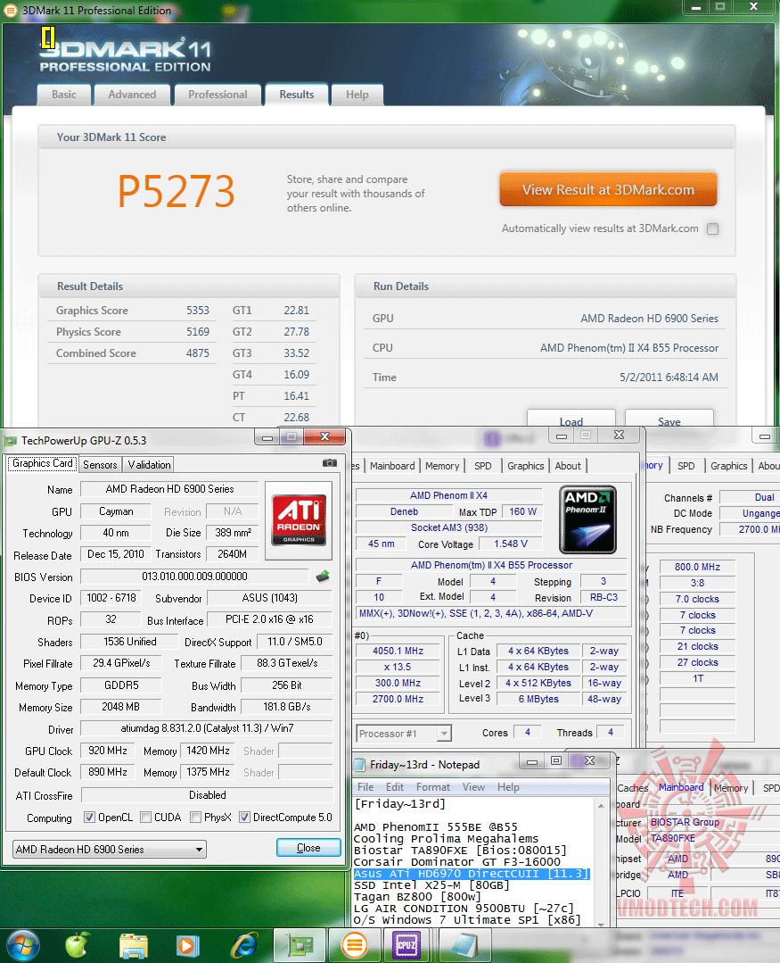 oc 920 1420 3d2k11 p5273 Asus ATi HD6970 DirectCUII : Review