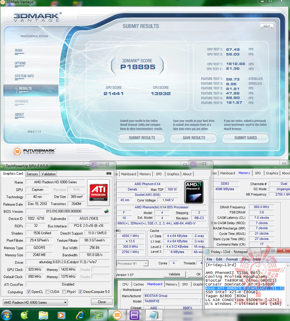 oc 920 1420 3dvantage p18895 Asus ATi HD6970 DirectCUII : Review