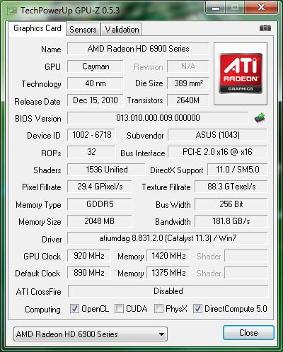 oc info gpuz01 Asus ATi HD6970 DirectCUII : Review