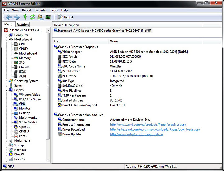 aida gpu GIGABYTE E350N USB3