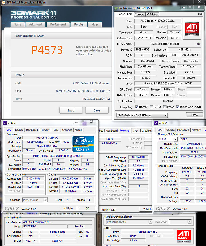 11 oc MSI HD6850 Cyclone IGD5 Power Edition