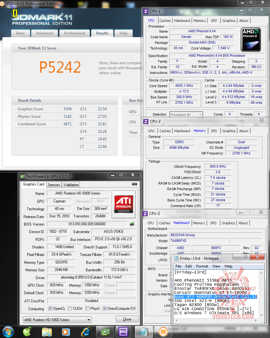 920 1350 3d2k11 p5242 Asus ATi HD6950 DirectCUII 2GB/GDDR5 : Review