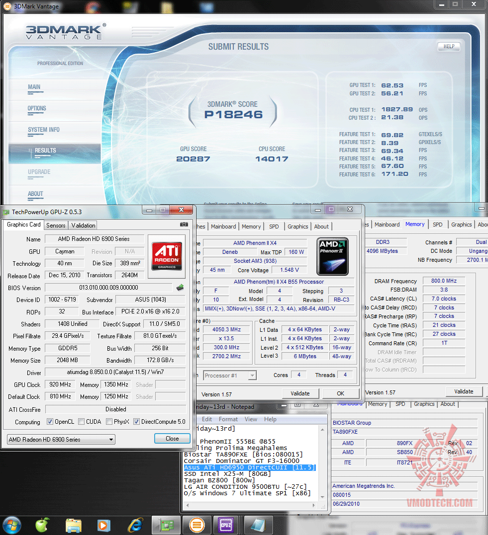 920 1350 3dvantage p18246 Asus ATi HD6950 DirectCUII 2GB/GDDR5 : Review