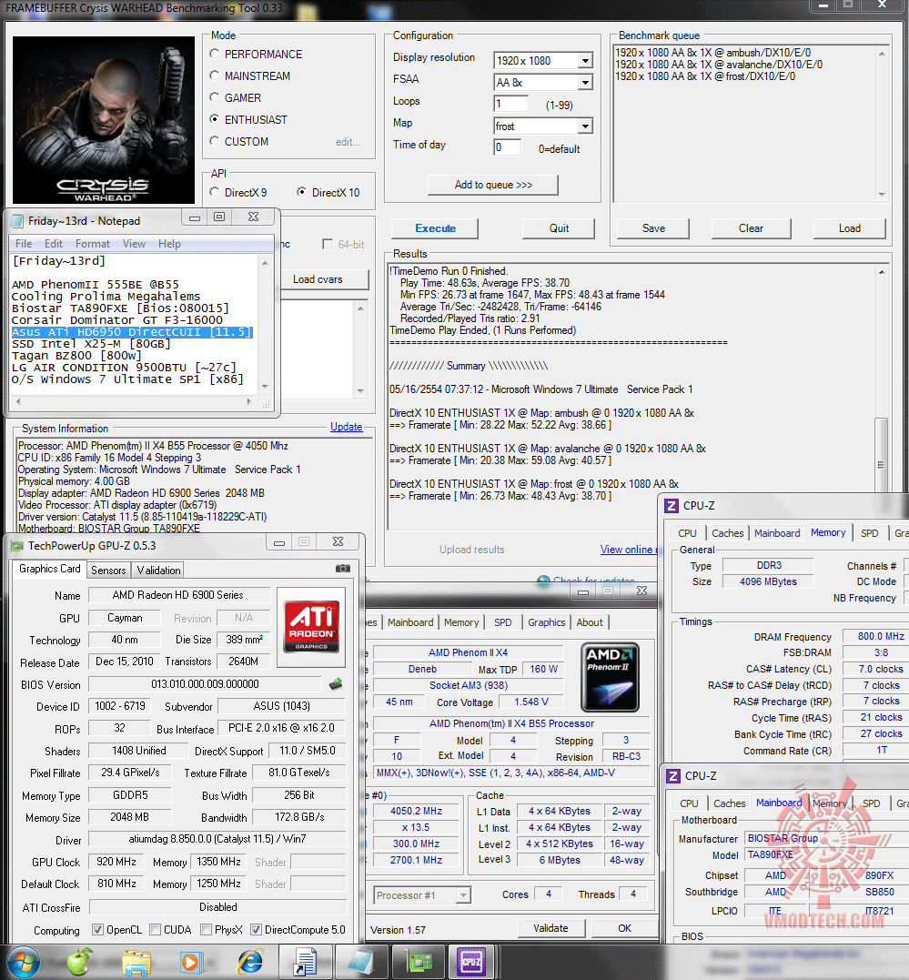 920 1350 dx10 crysiswh 38 40 38 Asus ATi HD6950 DirectCUII 2GB/GDDR5 : Review