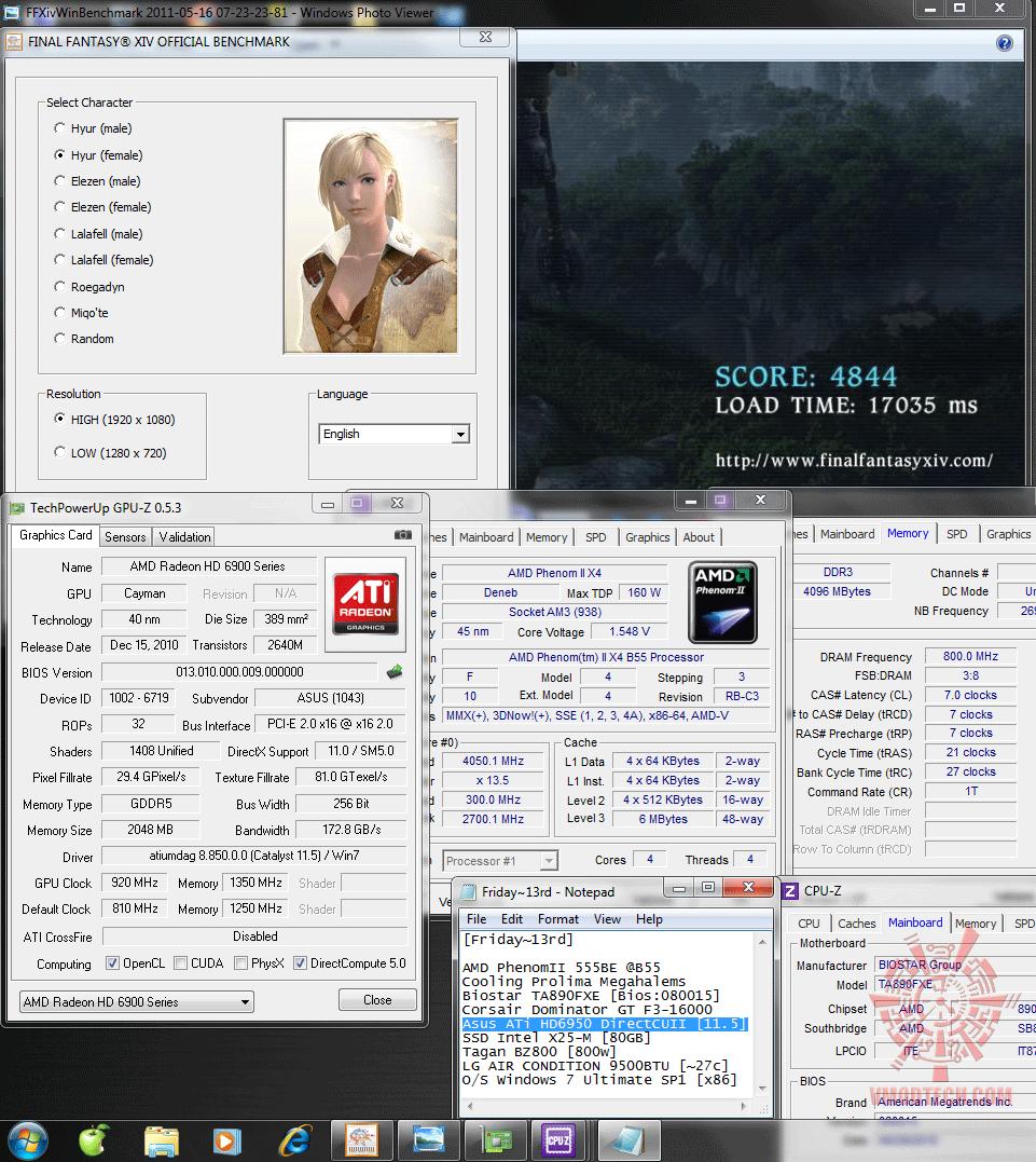 920 1350 dx9 ffxiv 4844 Asus ATi HD6950 DirectCUII 2GB/GDDR5 : Review