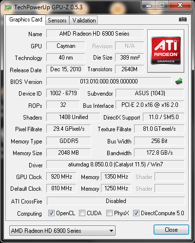 920 1350 info gpuz1 Asus ATi HD6950 DirectCUII 2GB/GDDR5 : Review
