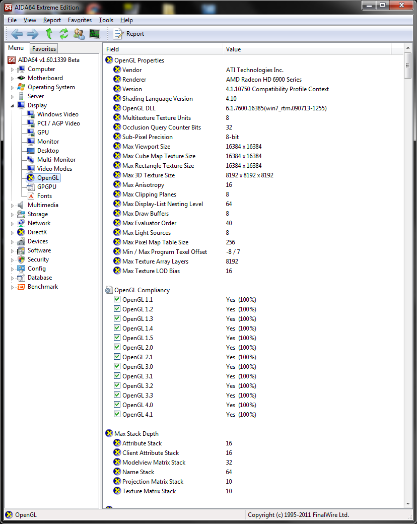info aida64 3opengl Asus ATi HD6950 DirectCUII 2GB/GDDR5 : Review