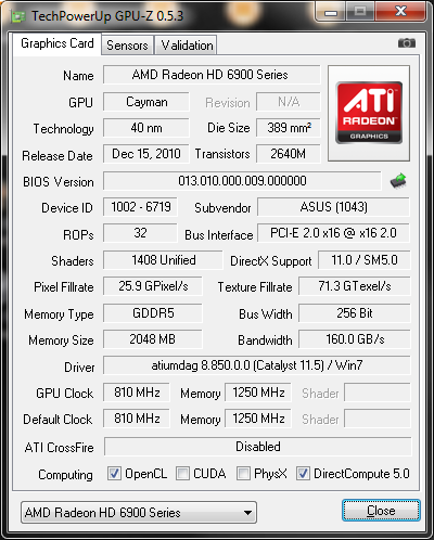 info gpuz1 Asus ATi HD6950 DirectCUII 2GB/GDDR5 : Review