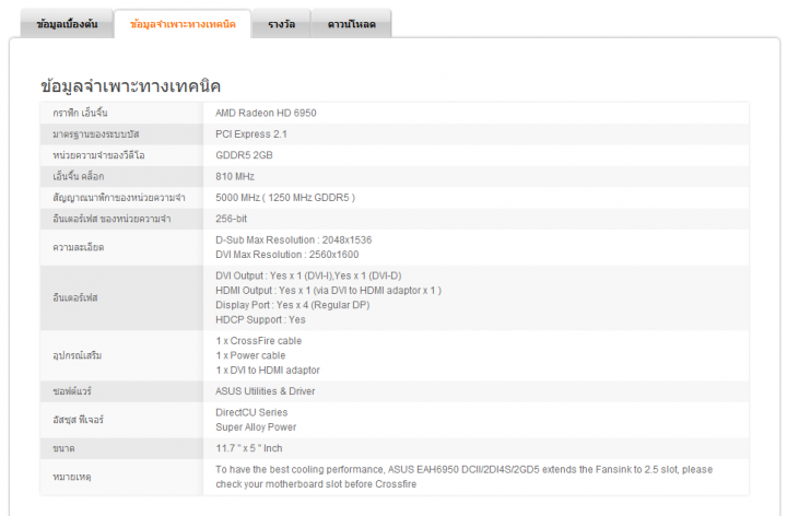 specification 02 720x472 Asus ATi HD6950 DirectCUII 2GB/GDDR5 : Review