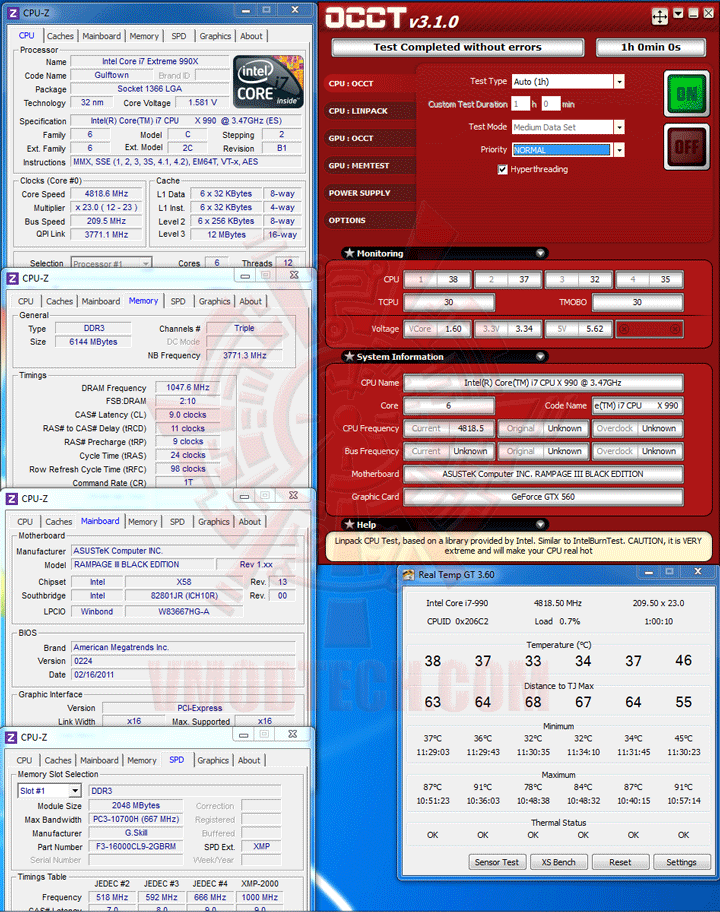occt Intel Core i7 990X Extreme Edition & ASUS Rampage III Black Edition Review
