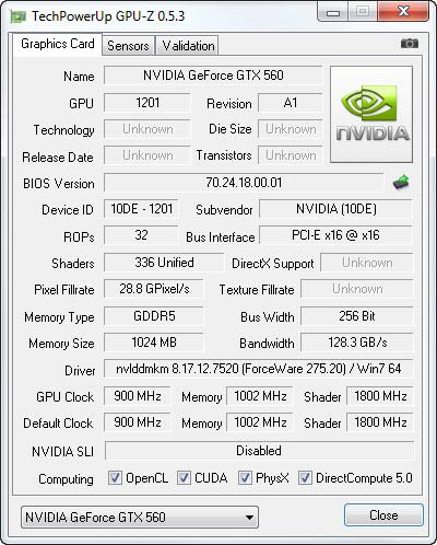 gpuz GIGABYTE N56GSO 1GI Winforce Nvidia GTX 560