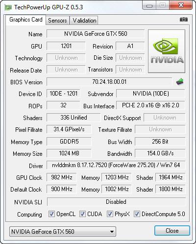 gpuzoc GIGABYTE N56GSO 1GI Winforce Nvidia GTX 560